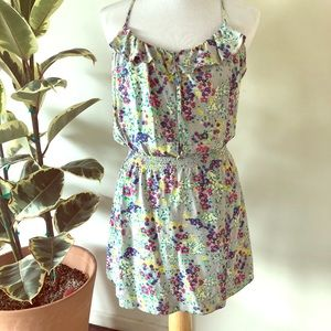 Grey floral mini sundress with racerback size M